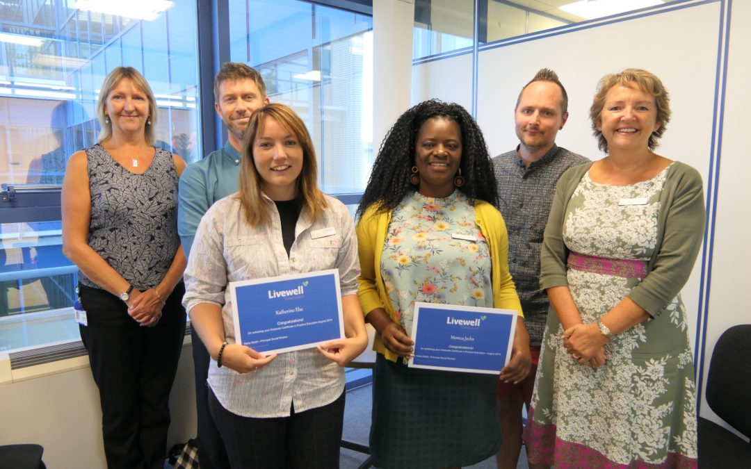 Success for two Livewell social workers as they qualify as practice educators